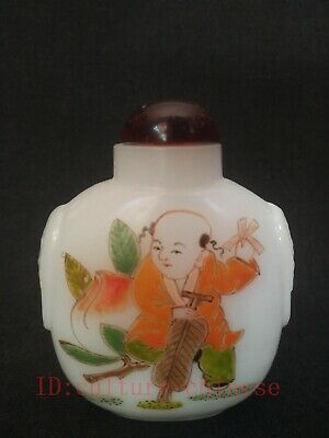 Collected Ancient China Glass Manual Painting Lad Play Peach Snuff Bottles