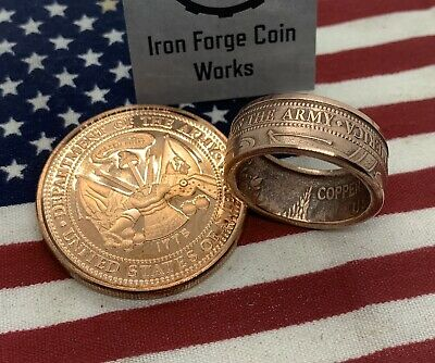 Army Coin Ring. Copper Ring Handmade From 1oz Copper Round Veteran Military Ring