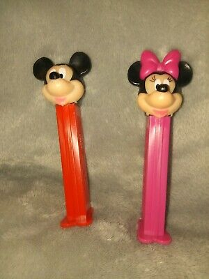 2 pc lot: Minnie Mouse And Mickey Mouse Pez Dispenser  Vintage Collectible