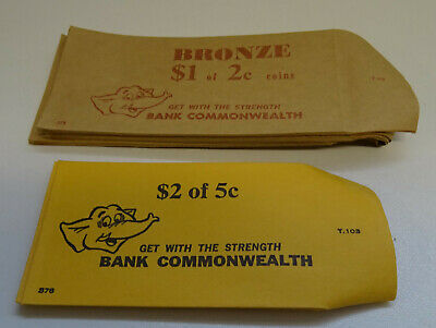 Vintage Lot Of Commonwealth Bank Paper Coin Bags