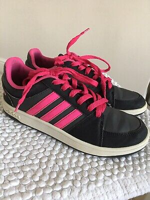 Adidas Girls Black And Pink Trainers Size 4 Hardly Worn