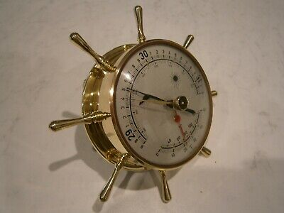Vintage Restored West German Brass Ships Wheel Wall Barometer / Thermometer