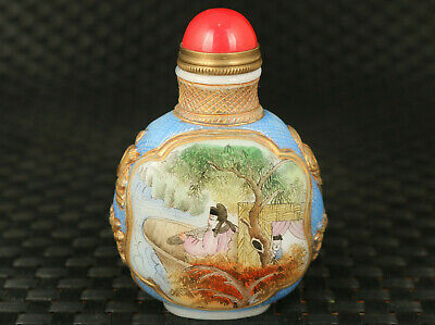 unique chinese old coloured glass hand painting earl snuff bottle