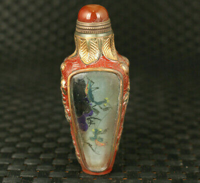Rare chinese old glass hand painting cricket snuff bottle
