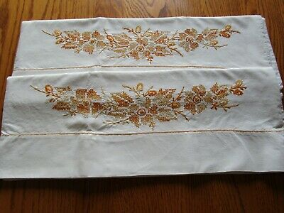 Pair Embroidered Beige Vintage Pillowcases Gold 20 x 30- Springmaid