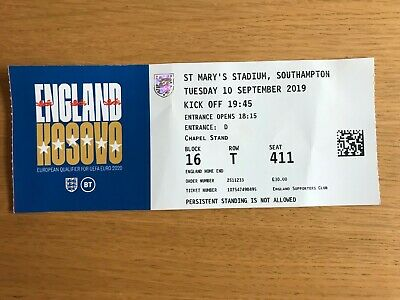 England v Kosovo (Euro Champs Qualifier) 10 Sept 2019 Used Match Ticket