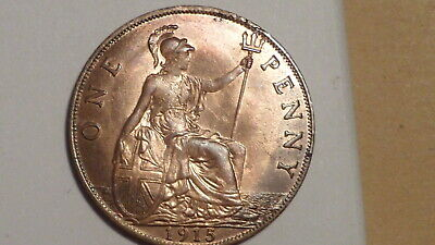 1915 Penny. Unc. Much Lustre. Good Strike. Scarce thus.George V.1911-1936British