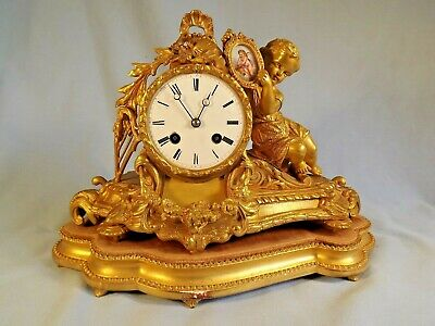 "19C Ormolu Clock ""Japy Freres"" Stand & Dome."