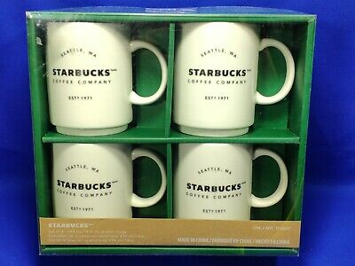 4 x Starbucks Stacking Coffee Mugs - White Ceramic - Large (3/4 Pint 414ml) BNIB
