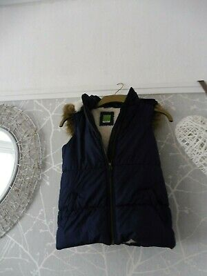 John Lewis Navy girls age 11 quilted fleece lined hooded bodywarmer/gillet