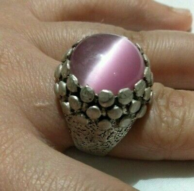 Ancient ANTIQUE Victorian Silver Ring Natural AGATE Gemstone Old Vintage