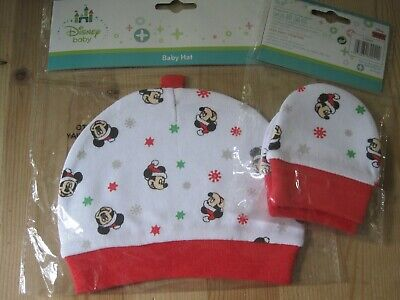1  Baby Hat & 1 Pair of Mitts Disney Christmas Mickey Mouse for a New Born Baby