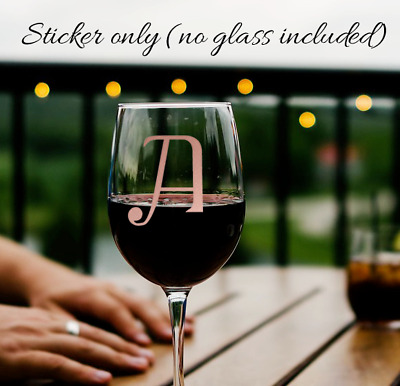 x2 Wine drinks glass personalised initial vinyl sticker various col rose gold