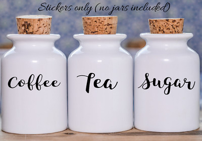 coffee tea sugar vinyl stickers for kitchen jars various colours rose gold