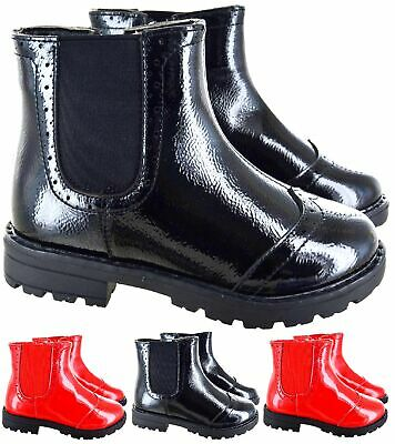 Kids Girls Chelsea Brough Children Patent Zip Up Flat Winter Ankle Shoes Boots