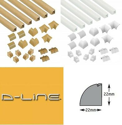 D-LINE 22x22 TRUNKING KIT SELF ADHESIVE TV CABLE HIDE WIRE TIDY COVER PVC DLINE