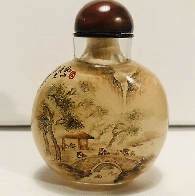 Signed Antique Chinese Snuff Bottle Reverse Inside Painted Landscape Mountains