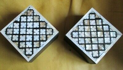 A Pair Of Inlaid Mother Of Pearl Wooden Trinket / Jewelry Boxes ,Secret Keepers