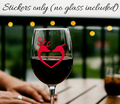 x6 Wine drinks glass christmas reindeer vinyl stickers various colours rose gold