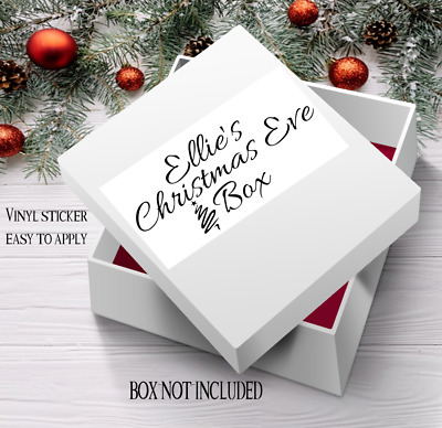 Christmas eve box personalised vinyl sticker various colours rose gold 24 x 10cm