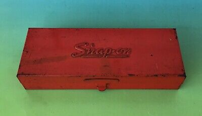 "Nice Vintage SNAP-ON Tools Red Metal 1/4"" SOCKET BOX KRA-223A"