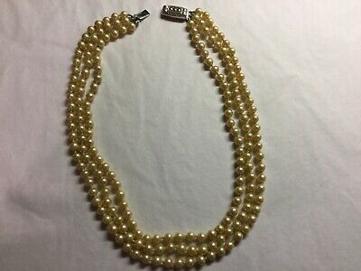 Antique Art Deco  Sterling Silver Triple Stranded Pearl Necklace