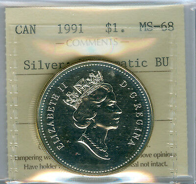 1991 Canada Silver Dollar  Iccs 68 Solo Finest Grade Bu Mint State  .