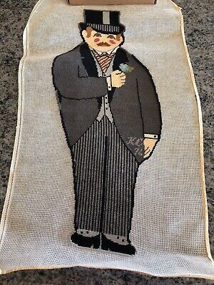 Vintage Needlepoint Picture Finished- Man In Tails And Top Hat Groom