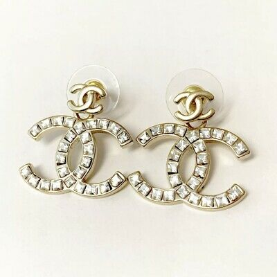 Chanel Crystal Gold Pierced Large Double CC Coco Logo Swinging Earrings