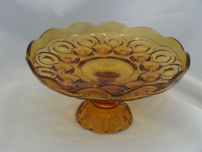 Vintage Amber Glass  Dish Plate Bowl Candy Dish Footed Pedestal  bg