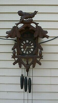 large black Forrest pine cone & leaves  carved cuckoo & quail bird clock for res
