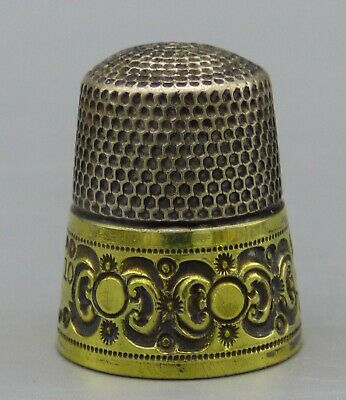 Antique Simon Brothers Sterling Silver Sewing Thimble Size 10 Two Tone