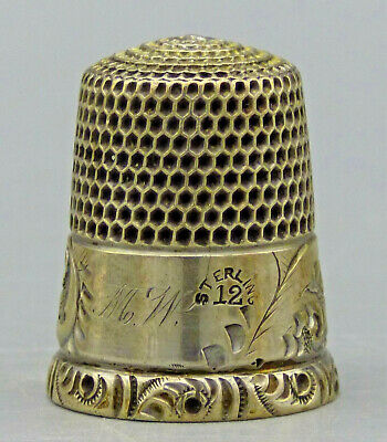 "Antique Simon Brothers Sterling Silver  Sewing Thimble ""Size 12"