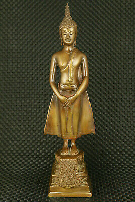 Blessing big old copper Handcarved western Buddha statue noble table decoration