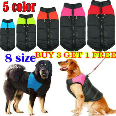 Waterproof Dog Clothes Spring Autumn Winter Warm Padded Pet Coat Vest Jacket
