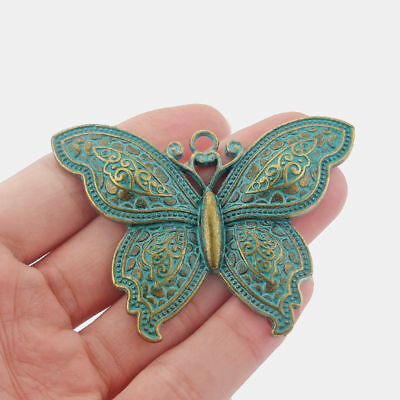 2Pcs Ancient Greek Bronze Butterfly Charms Pendants DIY Jewelry Necklace Making