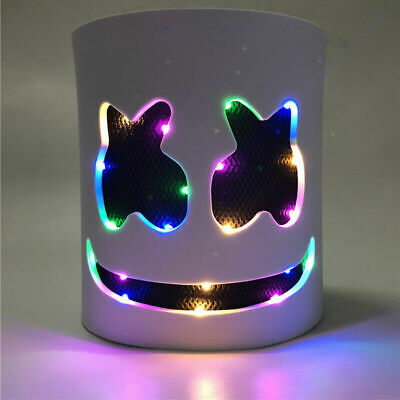 Halloween DJ-Marshmello Rainbow LED Full Mask Latex Marshmallow Helmet Party