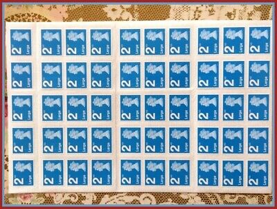 NEW & 100% Genuine 50 2nd Class Large Stamps Sheet / Booklet