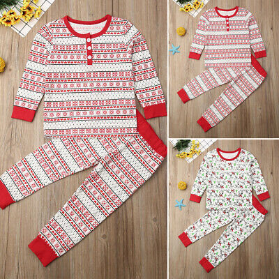 Christmas Kids Baby Boy Girl Tops T-shirt Leggings Pants Pajama Clothes Outfit