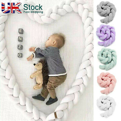Infant Plush Crib Bumper Bedding Bed Cot Braid Pillow Pad Protector