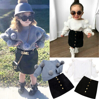 2PCS Toddler Baby Girl Autumn Winter Clothes Set Sweater Tops+Mini Skirt Outfits