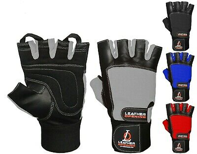Weight Lifting Gym Gloves Leather Wrist Strap Supports BodyBuilding Best Fitness