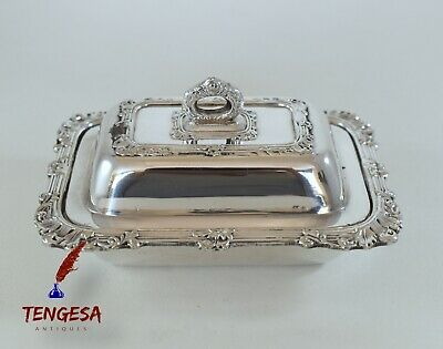 Antique Silver Plate On Copper Small Butter Dish