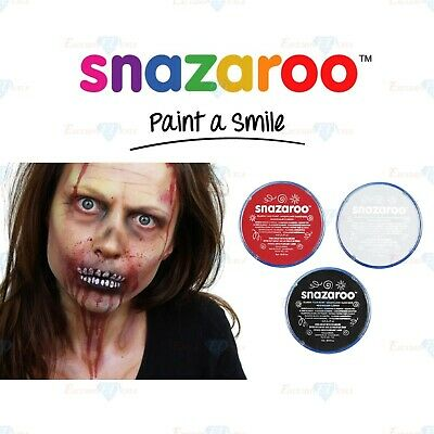 Snazaroo Face Paint Body Paint Make Up Zombie Scary Halloween Black White & Red