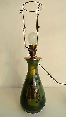 Roerstrand Art Nouveau Porcelain Lamp Base Mill in the Moonlight before 1900