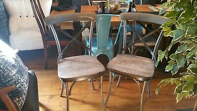 4x Cox and Cox Antiqued Zinc Crossed back industrial style Chairs.