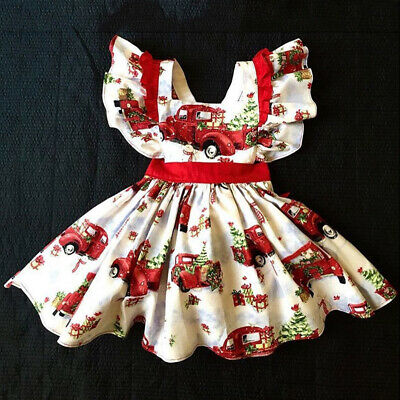 UK Christmas Newborn Kids Baby Girl Xmas Taxi Flared Party Swing Dress Clothes