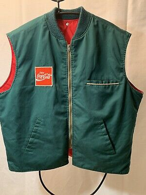 Vintage Coca-Cola Large delivery driver vest Green exterior, Red insulated Retro