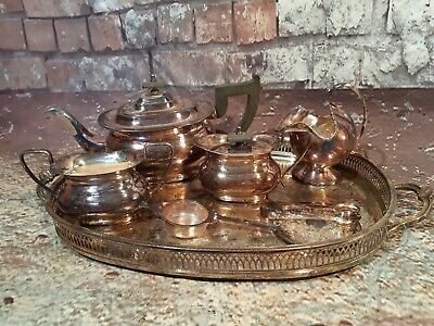 Vintage Viners Sheffield Alpha Silver Plated Tea Set With Serving Tray 8 Piece
