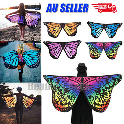 Fabric Butterfly Wings Shawl Fairy Adult Nymph Pixie Soft Costume Accessory Cape